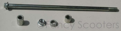 Rear Wheel Axle with Spacer and Nut for GS-303,408 (L=325 mm, Diameter=12mm)