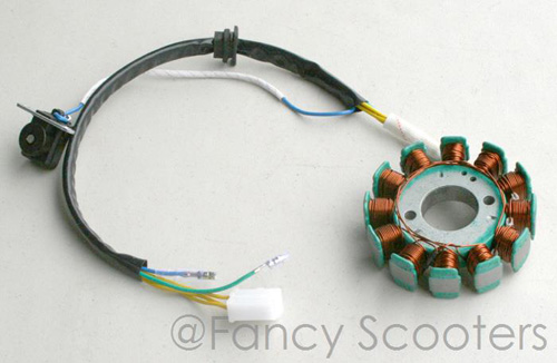 Znen 12 Coils Stator (5 Wires) for GY6 125cc 150cc Scooters (Center Dia. 29mm, Mounting Hole Dia. 42mm)